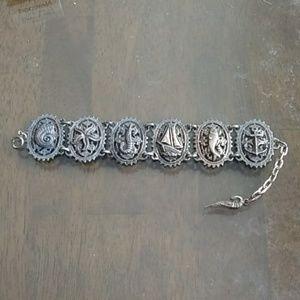 Silver Large Nautical Beach theme bracelet unique